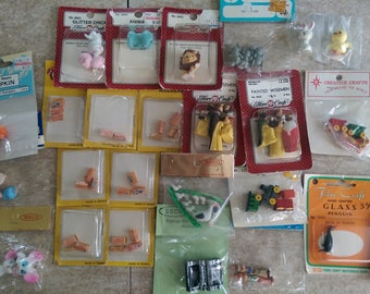 Lot of Vintage Dollhouse Miniatures CUTE Animals, Cracker Jack, Wise men, Trains new in package