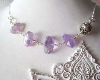 Amethyst Necklace, Pantone 2018, February Birthday, Sterling Silver, Bali Bead, Semi Precious Gems, Lavender Stones, Fine Silver, candies64