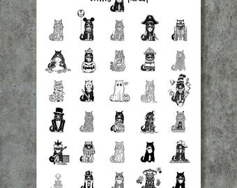 Willis The Cat Inktober Poster by GIGART Holiday Gift Wall Art Decor Print Kitty Pet