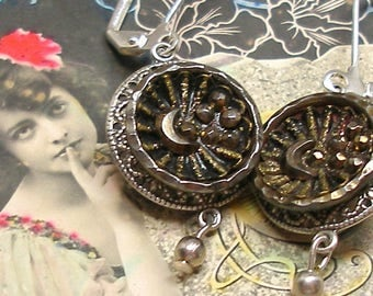 Crescent Moon BUTTON earrings, Victorian STAR & moon in silver. Antique button jewellery.