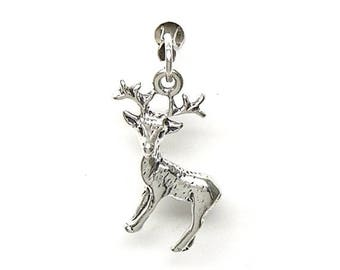 SALE Young Deer Buck with Rack Sterling Silver Animal Charm Pendant Customize no. 1983