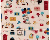 HALF YARD Cosmo Textile - Illustrator Nori - Kitten Postal Mix on NATURAL CR8932 1A - Cat, Mail, Letter, Postage, Package  - Japanese Import