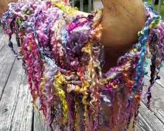 Handspun Art Yarn-Sunset at Black Beach- Iceland Collection; JazzTurtle SIgnature Tailspun Yarn