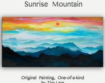 Sale Original abstract mountain art Black and White Large Oil painting on gallery wrap canvas Ready to hang by tim Lam 48x24