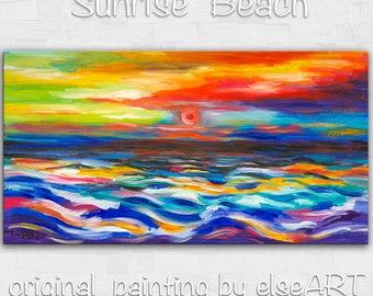 Original abstract painting Sea art Sunrise Wave on gallery wrap canvas acrylic painting home art by tim Lam 48x24