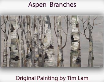 Sale Original art Abstract Painting large Oil Painting, aspen tree art winter Landscape Painting by tim lam 48x24x1.4