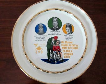 1975 Vintage Shriner Ceramic Round Ashtray
