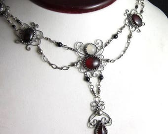 SUMMER SALE Victorian Red Necklace - Garnet and Moonstone in Sterling Silver Filigree