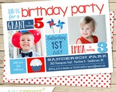 Red White Blue Sibling Birthday Invitation - 4th of July Double Birthday - Independence Day Summer Invite - Boy Girl - Gender Neutral