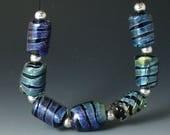 Lampwork beads/handmade beads/SRA lampwork/beads/Double Helix/silver/blue/
