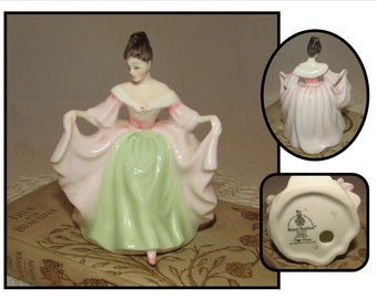 Vintage Small Bone China Figurine, Sara in Pink and Green Ball Gown by Royal Doulton, # HN3219, 1980