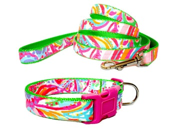 2017 SWISH FISH Dog Collar and/or Leash with Bow or Flower Option Made from Lilly Pulitzer Fabric on Green Size: Your Choice