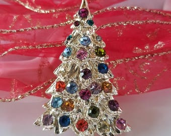Vintage Rainbow Christmas Tree Brooch/Pin