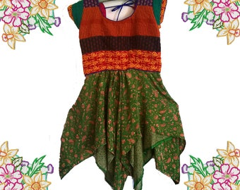 Party / Festival Dress.Silk / Embroidered / Patchwork.  Recycled / Unique / Refashion. Size small.