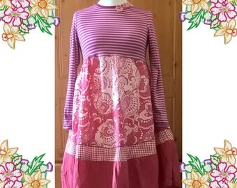 Perfect Pinks. Upcycled Refashioned Lagenlook Floaty Dress. Pink. Recycled Clothing by DearLisa. Med - Large