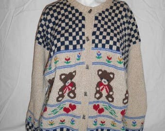 Closing Shop 40%off SALE Vintage Handmade wool sweater button up bears hearts flowers checkers