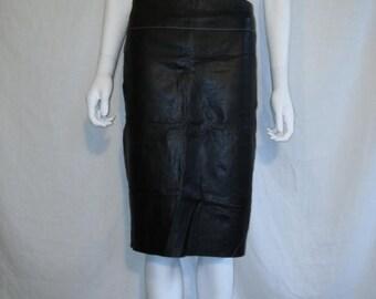 Closing Shop 40%off SALE BCBG Black leather skirt, High Waist Leather Skirt size 4