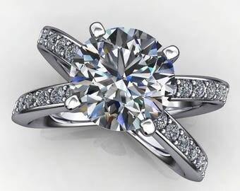 zara ring - 2.2 carat round NEO moissanite engagement ring, split shank ring