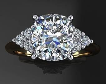 madison ring – 2 carat cushion cut ZAYA moissanite engagement ring, cushion cut ring