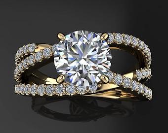 trinity ring - 1 carat NEO moissanite engagement ring, modern engagement ring