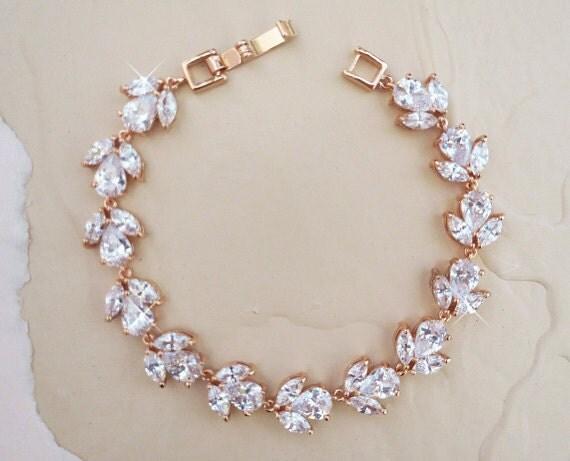 rose gold bridal bracelet, cz wedding bracelet