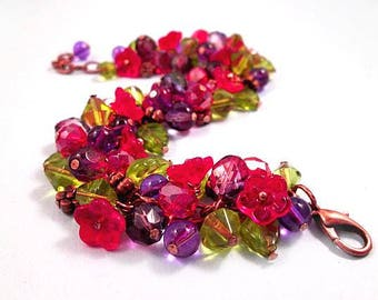 Flower Cha Cha Bracelet, Love in Bloom, Colorful and Copper Charm Bracelet, FREE Shipping U.S.