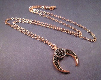 Double Horn or Tooth Necklace, Black ad White Rhinestone Pave Pendant, Rose Gold Chain Necklace, FREE Shipping
