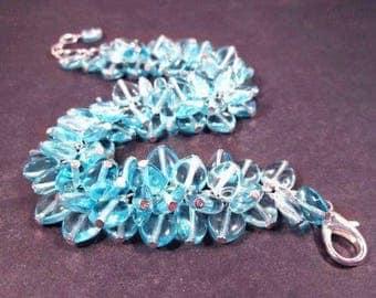 Heart Cha Cha Bracelet, Aqua Blue Sweetheart and Silver Charm Bracelet, FREE Shipping U.S.