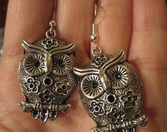 30% OFF Large Retro Owl Earrings, French Hooks Silver Tone, Hippie Gypsy