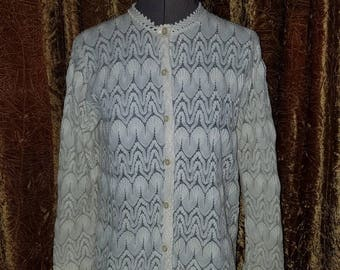 30% OFF Vintage 1960's Ivory Lace Cardigan Blouse Medium