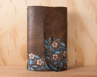 Tooled Leather Travelers Notebook - Midori Notebook for Moleskine Cahier Large  - Floral pattern in turquoise, aqua and antique black