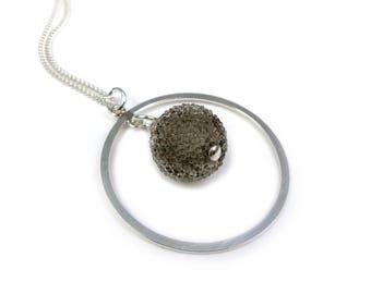 Silver and smoky gray Crystal pendant