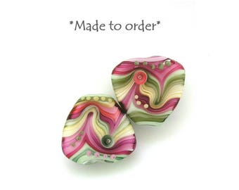 Michal S- Made to order Lampwork triangle 1 bead Pink and Olive