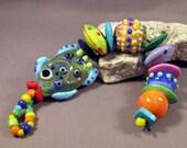 Handmade Lampwork Beads by Monaslampwork - Fish School - Lampwork Glass by Mona Sullivan Designs Enamels Dots Organic Bohemian Boho Gypsy