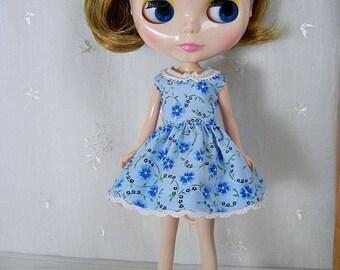 Blythe Doll Dress,  Blythe Dress. Blue Floral