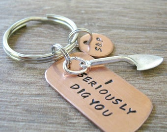 I Seriously Dig You Keychain Trowel Charm, Flirty gift, Couples keychain, Valentine keychain, Valentine's day gift, relationship humor
