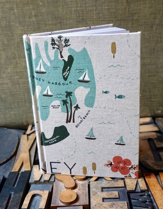 Fabric Covered Journal - Large Blank with Sydney Travel Theme