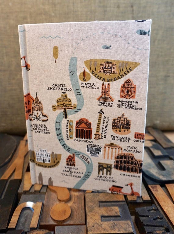 Fabric Covered Journal - Large Lined with Rome and London Travel Theme