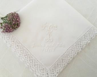 Personalized Embroidered Single MONOGRAM wedding hankie