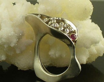 SALE SALE - Octo Pod ring, Egg Ring, Sterling Silver Ring, Bubbles, OctopusME, Sterling silver, 14K gold, Ruby Ring, Octopus Me, OOaK, under