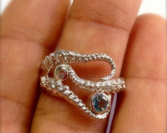 SALE SALE - Seductive Tentacle ring 14k white gold with diamond and Aquamarine, Wedding  band, Engagement ring, tentacle jewelry, Octopus je