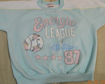 80's puff paint Sweatshirt,L, Bears and Baseball ,whats not to LOVE,Energie League All Stars 87 ,Light Green,Blue,Pink,Large