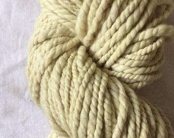 Catnip dyed, handspun luxury yarn, 50 yards, bulky weight handspun, plant dyed, yellow yarn, botanical dyes, super soft handspun yarn