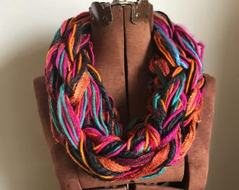 Mardi Gras -  textured handknit bulky cowl, ready to ship, bulky lightweight warm oversized cowl