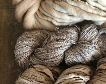 Black Walnut dyed texture pack, art yarn, 400 yards, natural dyes,  weaving yarn, great for knitting, textured art yarn