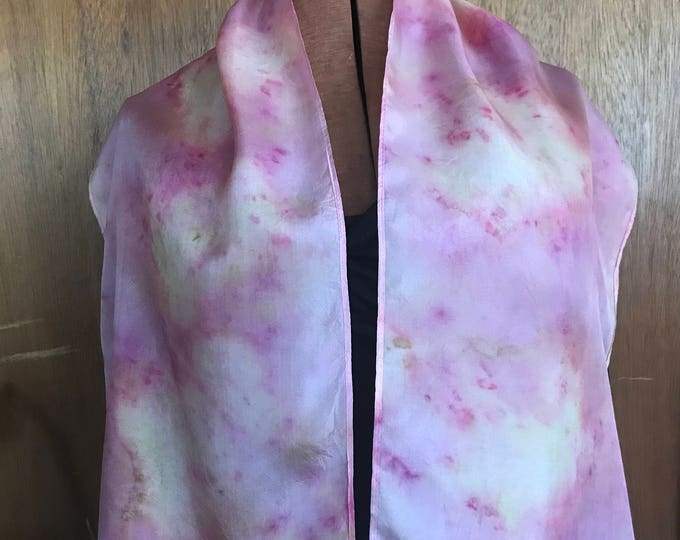 Pink and yellow naturally dyed silk scarf