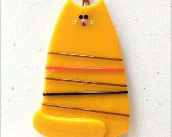 Cat Ornament, Christmas Cat, Cat Decoration, Butterscotch Cat, Glass Cat, Holiday Cat, CGGE, Feline, Kitty, Handmade