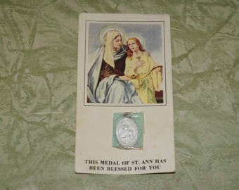 Saint Ann medal on card      Saint Ann medal blessed for you