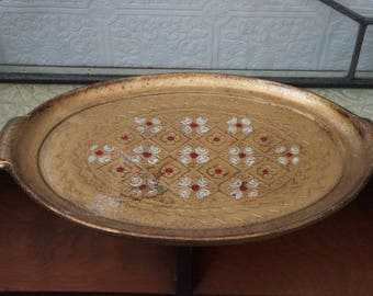 Vintage regency Italy  Italian Florentine Toleware Red Gold Gilt Serving Tray Platter tray gold mid century Hollywood