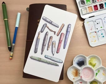 Pen & Stationery Watercolor Illustration Shitajiki Pencil Board Notebook for Traveler's Notebook